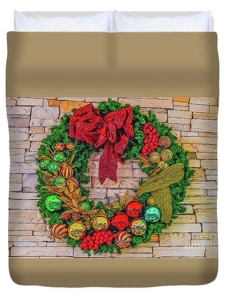 Duvet Cover featuring the digital art Holiday Wreath by Ray Shiu