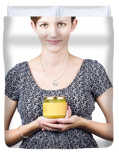 Holistic Naturopath Holding Jar Of Homemade Spread Duvet Cover by Jorgo Photography - Wall Art Gallery