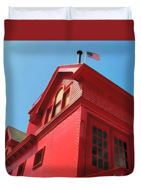 Holland Harbor Light From The Bottom Up Duvet Cover by Michelle Calkins