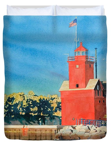 Duvet Cover featuring the painting Holland Lighthouse - Big Red by LeAnne Sowa
