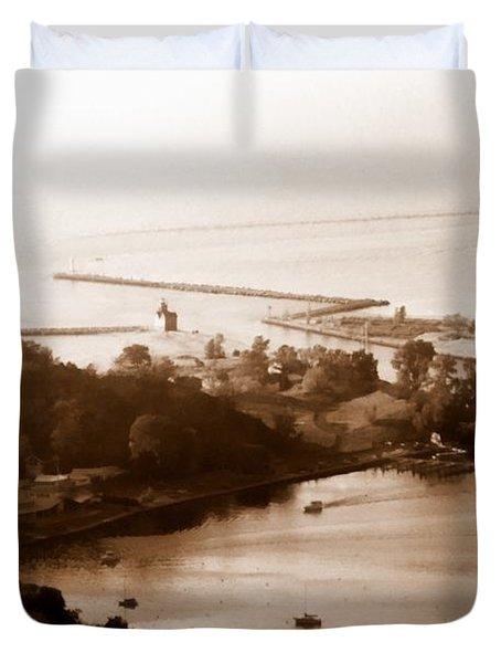 Holland Michigan Harbor Big Red Aerial Photo Duvet Cover