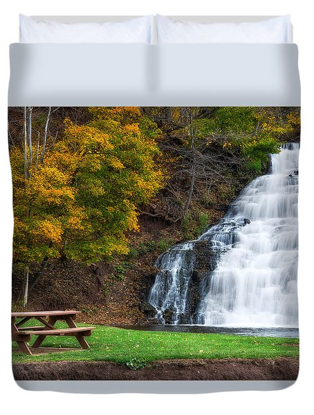 Duvet Cover featuring the photograph Holley Canal Falls by Mark Papke