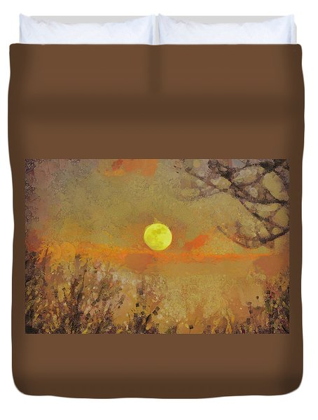 Duvet Cover featuring the mixed media Hollow's Eve by Trish Tritz