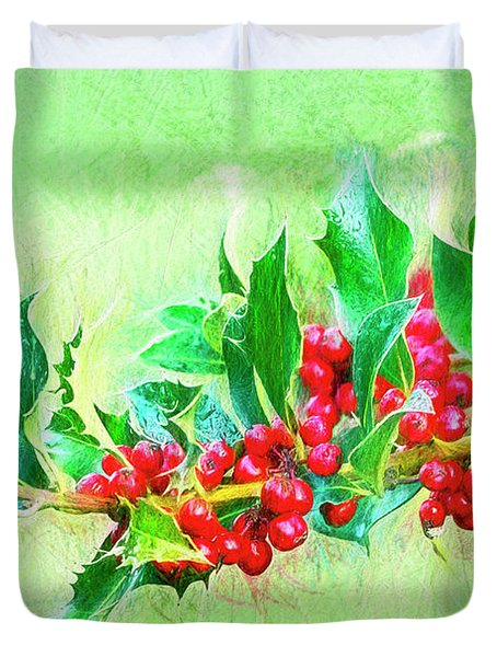 Duvet Cover featuring the photograph Holly Berries Photo Art by Sharon Talson