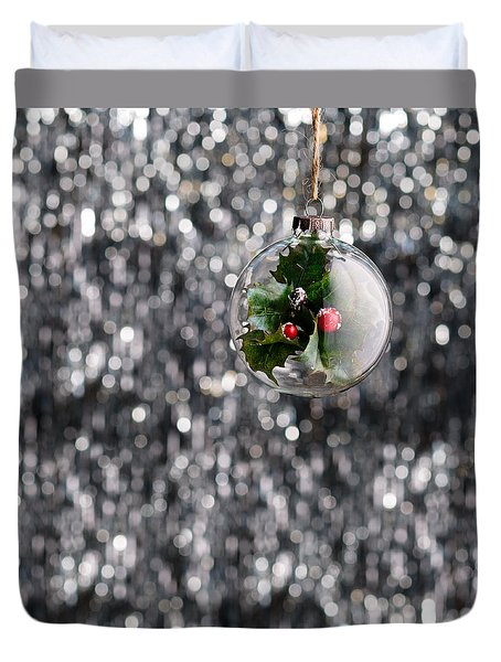 Duvet Cover featuring the photograph Holly Christmas Bauble  by Ulrich Schade