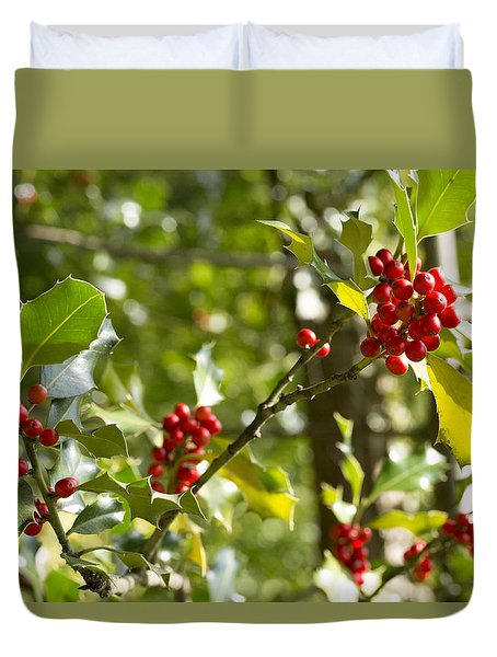 Duvet Cover featuring the photograph Holly With Berries by Chevy Fleet