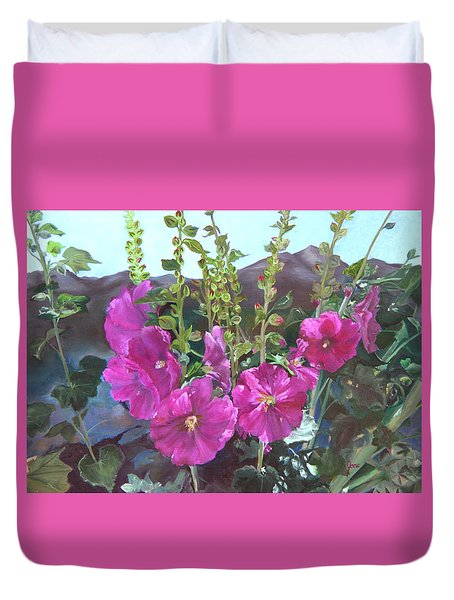 Hollyhock Necklace Duvet Cover by Jane Autry