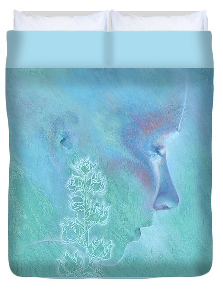 Duvet Cover featuring the painting Hollyhock by Ragen Mendenhall