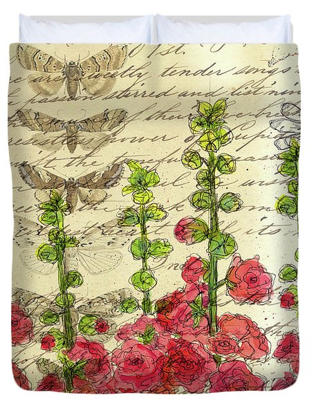 Duvet Cover featuring the drawing Hollyhocks And Butterflies  by Cathie Richardson