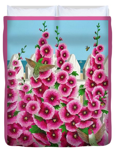 Hollyhocks And Humming Birds Duvet Cover by Katherine Young-Beck