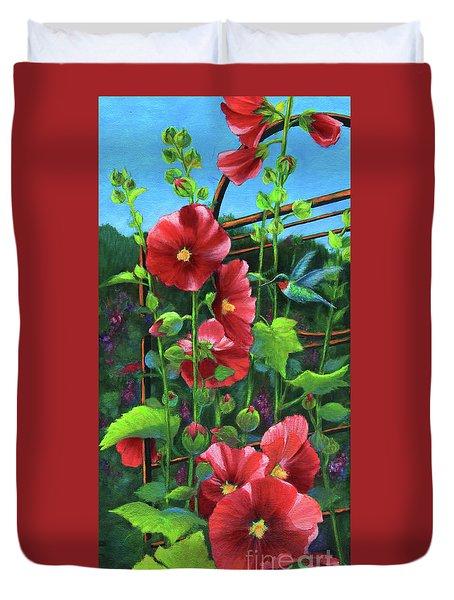 Hollyhocks And Hummingbird Duvet Cover