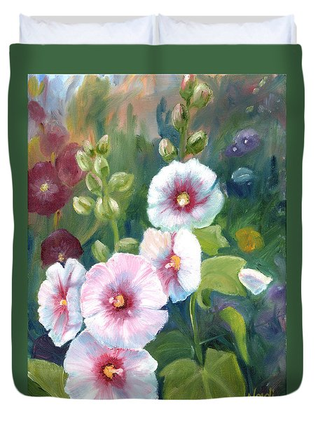 Duvet Cover featuring the painting Hollyhocks by Renate Nadi Wesley