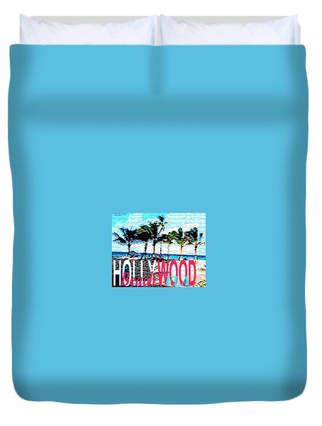 Hollywood Beach Fla Poster Duvet Cover by Dick Sauer