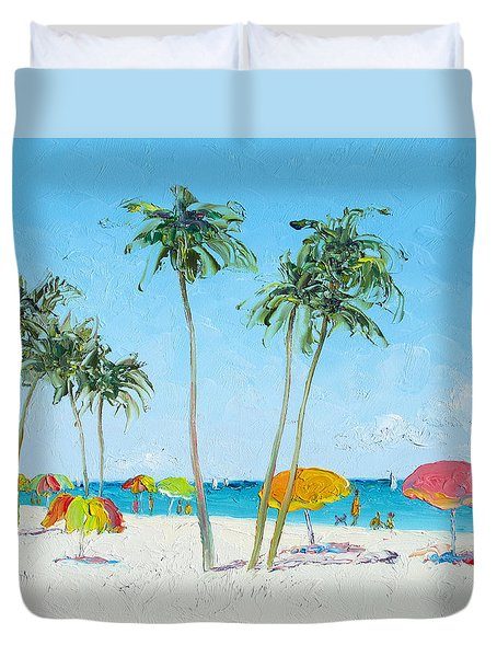 Hollywood Beach Florida And Coconut Palms Duvet Cover