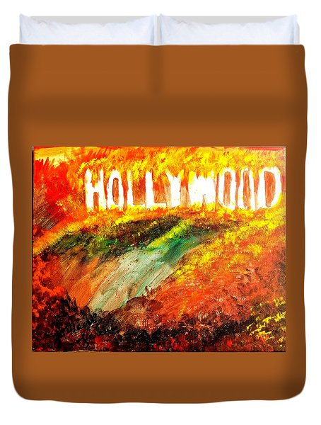 Hollywood Burning Duvet Cover