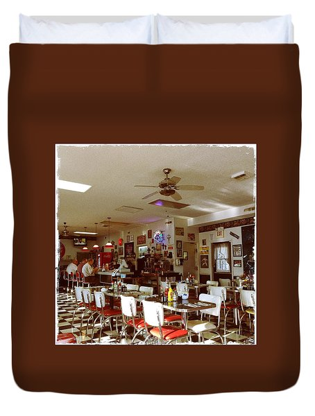 Hollywood Cafe Lodi California Duvet Cover by Suzanne Lorenz