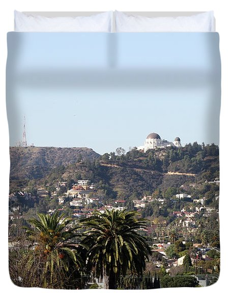 Hollywood Hills From Sunset Blvd Duvet Cover