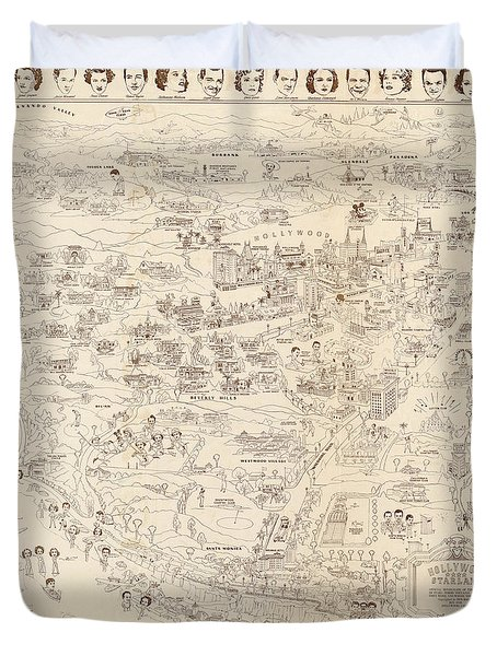 Hollywood Map To The Stars 1937 Duvet Cover by Don Boggs