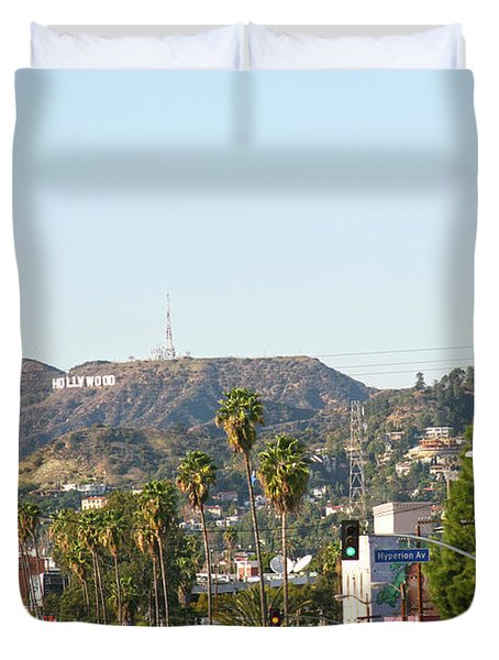 Hollywood Sign Above Sunset Blvd. Duvet Cover