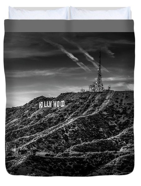 Hollywood Sign - Black And White Duvet Cover