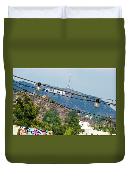 Duvet Cover featuring the photograph Hollywood Sign On The Hill 1 by Micah May