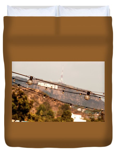 Duvet Cover featuring the photograph Hollywood Sign On The Hill 2 by Micah May