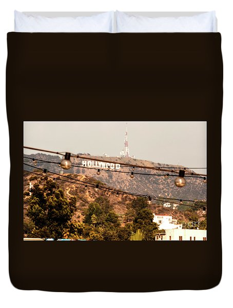 Duvet Cover featuring the photograph Hollywood Sign On The Hill 3 by Micah May