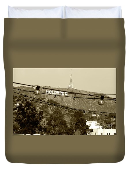 Duvet Cover featuring the photograph Hollywood Sign On The Hill 4 by Micah May