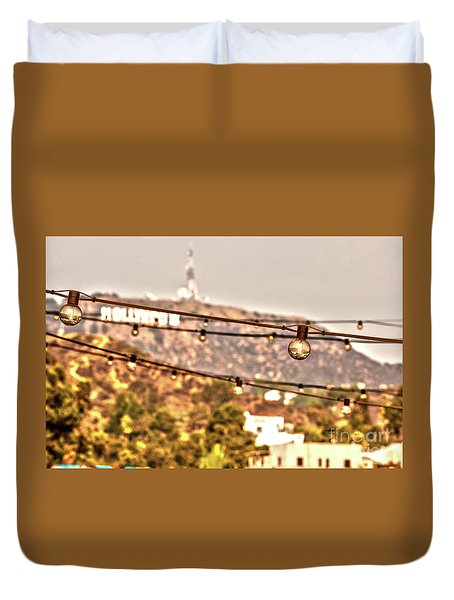 Duvet Cover featuring the photograph Hollywood Sign On The Hill 6 by Micah May