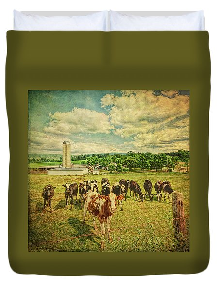 Duvet Cover featuring the photograph Holy Cows by Lewis Mann