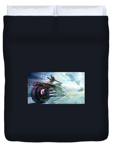 Duvet Cover featuring the photograph Holy Crap That Is Fast. by Lawrence Christopher