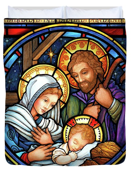Holy Family Stained Glass Duvet Cover
