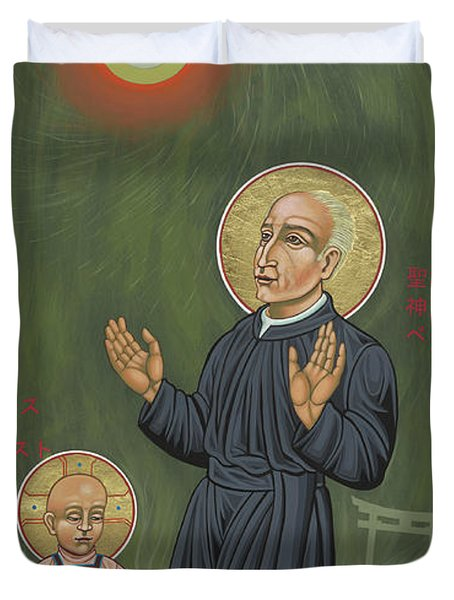 Holy Father Pedro Arrupe, Sj In Hiroshima With The Christ Child 293 Duvet Cover
