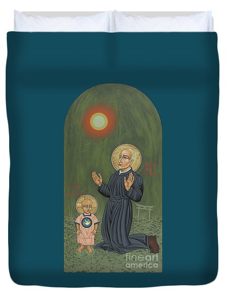 Duvet Cover featuring the painting Holy Father Pedro Arrupe, Sj In Hiroshima With The Christ Child 293 by William Hart McNichols