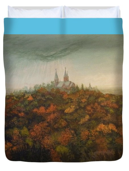 Holy Hill Rain Storm Duvet Cover by Dan Wagner