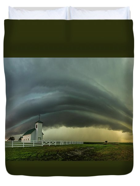 Duvet Cover featuring the photograph Holy Supercell  by Aaron J Groen