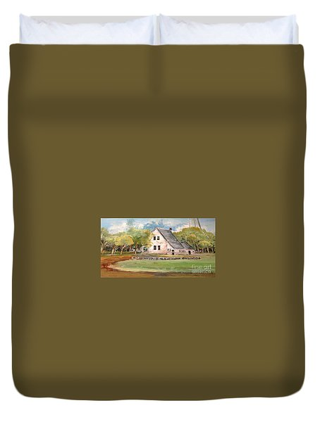 Duvet Cover featuring the painting Home Again by Linda Shackelford