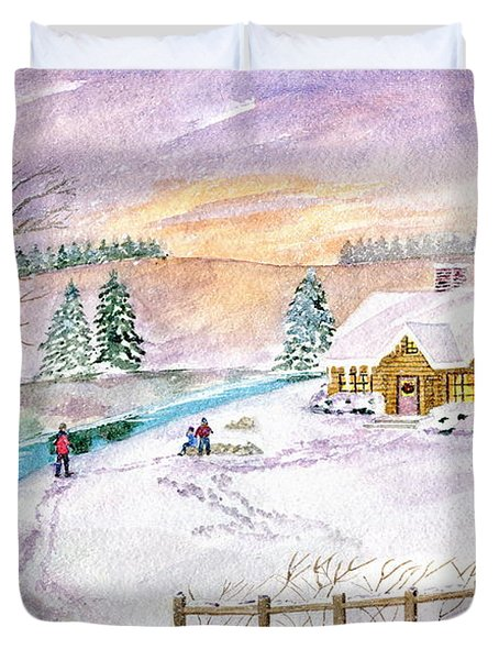 Duvet Cover featuring the painting Home For Christmas by Melly Terpening
