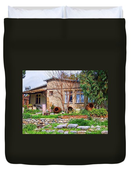 Duvet Cover featuring the photograph Home In Greece by Roberta Byram