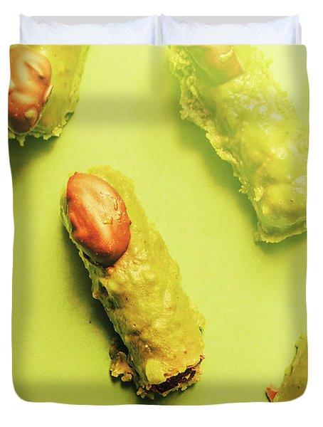 Home Made Severed Finger Halloween Candies Duvet Cover