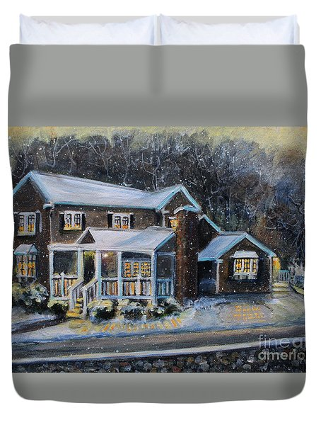 Home On A Snowy Eve Duvet Cover
