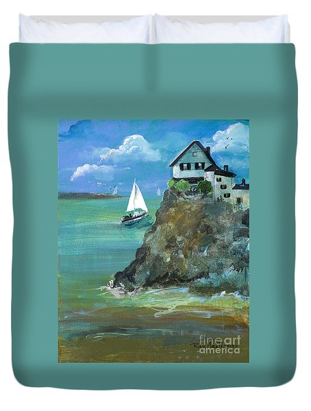 Home Overlooking The Sea Duvet Cover