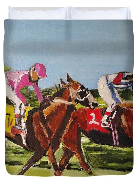 Duvet Cover featuring the painting Home Stretch by Judy Kay