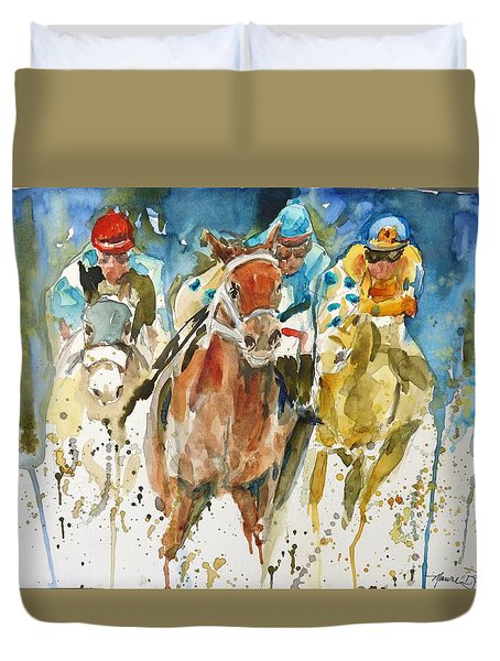 Duvet Cover featuring the painting Home Stretch by P Maure Bausch