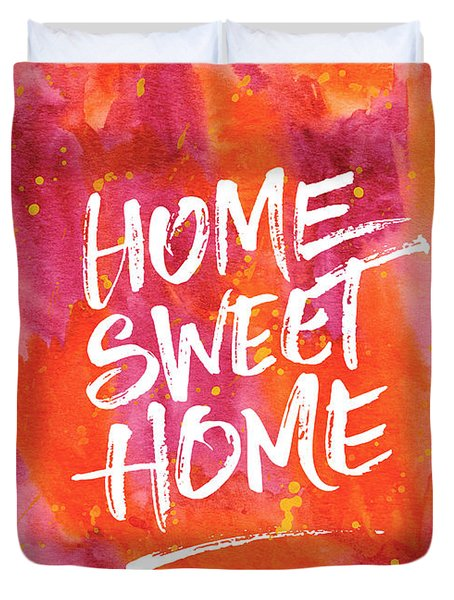 Home Sweet Home Handpainted Abstract Orange Pink Watercolor Duvet Cover