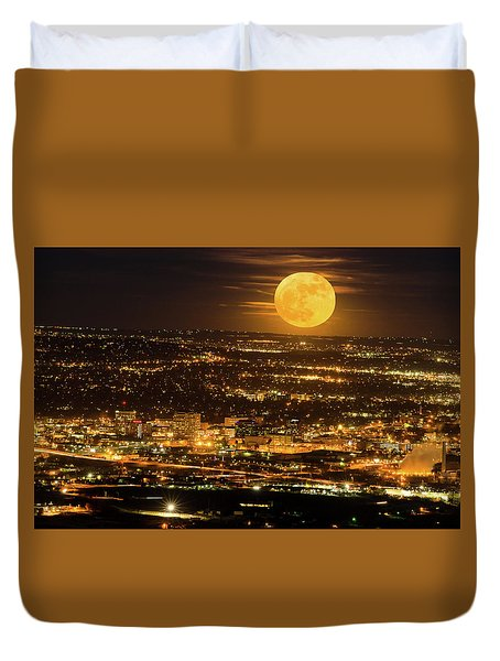Home Sweet Hometown Bathed In The Glow Of The Super Moon  Duvet Cover