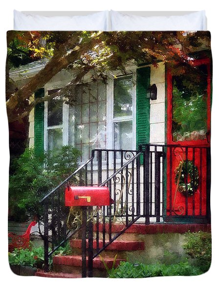 Home That Always Celebrates Christmas Duvet Cover by Susan Savad