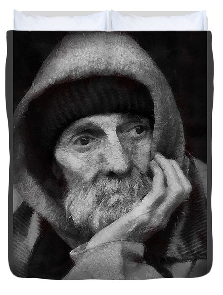 Duvet Cover featuring the digital art Homeless by Gun Legler
