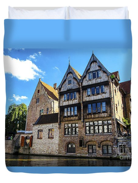 Duvet Cover featuring the photograph Homes Of Bruges by Pravine Chester