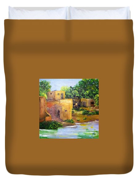 Duvet Cover featuring the painting Hometown by Saundra Johnson